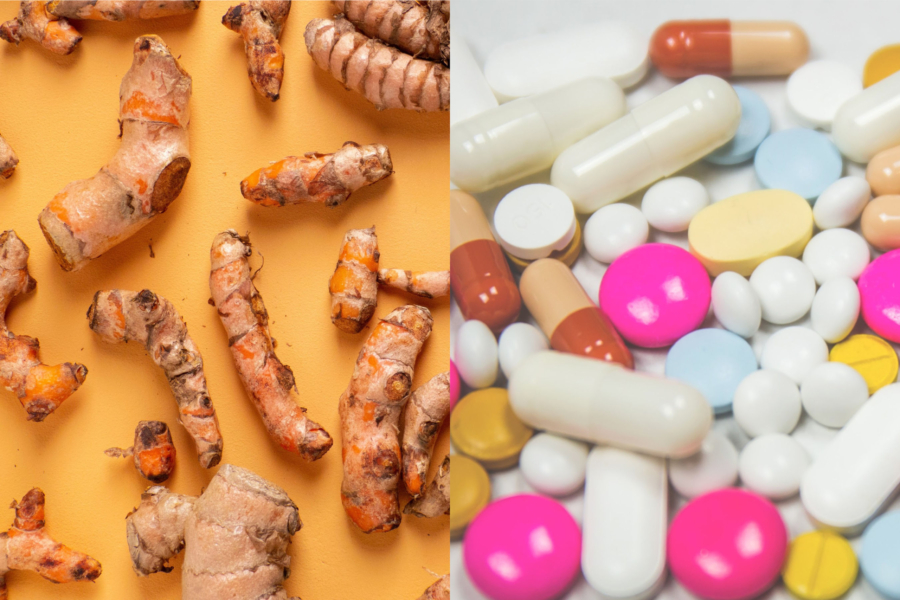 Anti-inflammatory herb turmeric and anti-inflammatory drugs are side-by-side.
